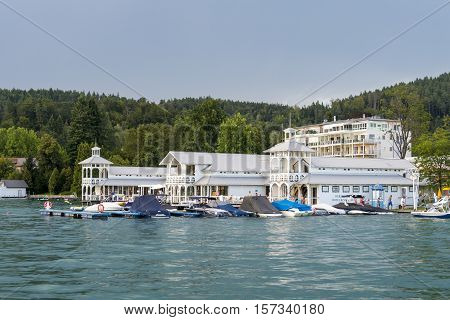 Portschach Austria - August 14 2016: Werzer's Hotel Resort offering luxurious vacation to it's guests in the beach house with lounge bar