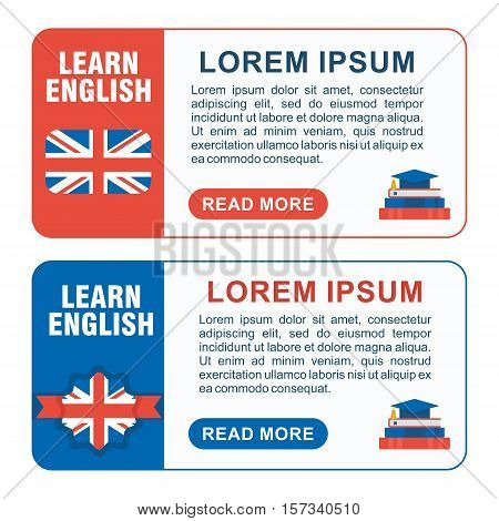 Set Of Learn English Baners Horizont