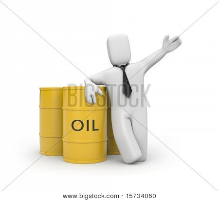 Businessman  with oil barrels poster