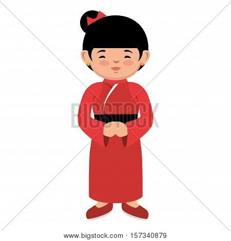 lovely girl red kimono japanese icon graphic vector illustration eps 10