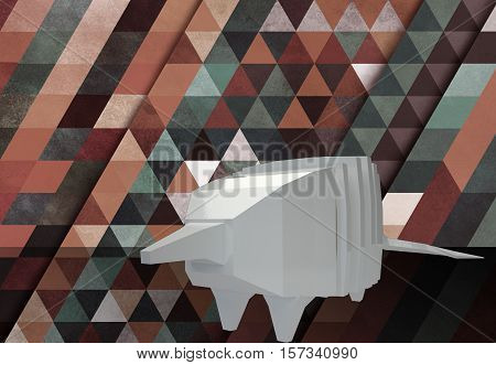3d polygonal white ceramic armadillo, triangle pattern background