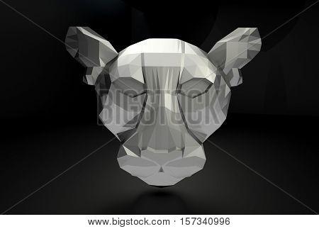 3d polygonal feline head, metal material, black background