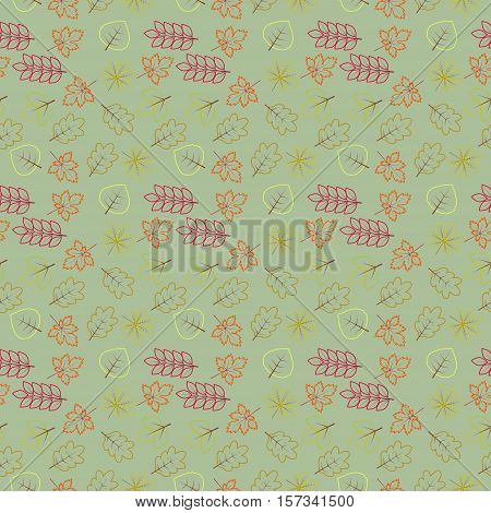 seamless wallpaper with various kinds of autumn leaves in pale green background
