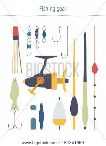 Set of fishing equipment. Fishing gear clipart made in vector