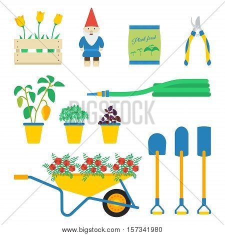 Vector illustration of garden elements: lug-box with tulips dwarf plant food secateur pepper parsley basil hose wheelbarrow flowers round shovel drain spade ditch or post spade