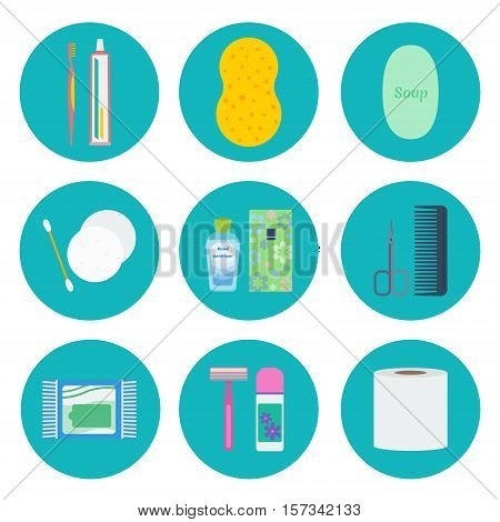 Personal hygiene flat icon set: toothbrush tooth paste shower puff soap ear stick make-up removal pads hand sanitizer pocket tissues nail scissors wet wipes razor deodorant toilet paper.