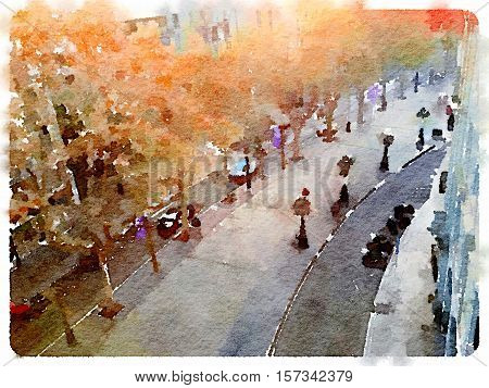 Digital watercolor painting of La Rambla street in Barcelona Spain. Space for text.