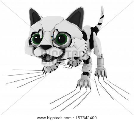Robotic kitten claw scratch 3d illustration horizontal isolated