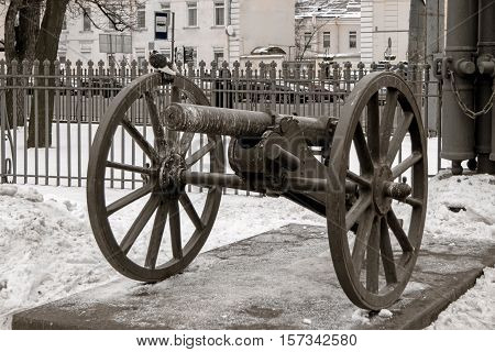 One of the ten old cannon imitations surrounding Glory Column in square in front of Holy Trinity Cathedral St Petersburg Russia. Original trophy cannons was dismantled in 1929 and sold by the Soviet Government to Germany for cash.