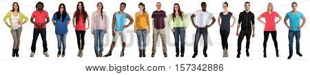 Group of young people smiling multicultural multi ethnic full body portrait in a row isolated on a white background