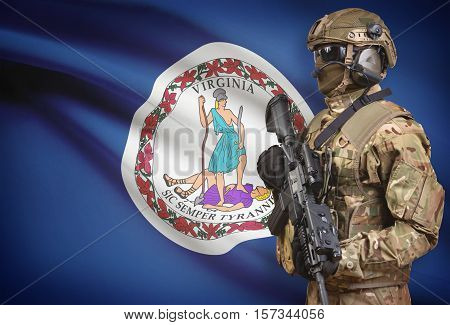 Soldier In Helmet Holding Machine Gun With Usa State Flag On Background Series - Virginia