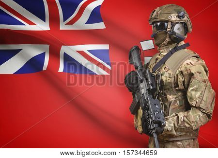 Soldier In Helmet Holding Machine Gun With Canadian Province Flag On Background Series - Manitoba