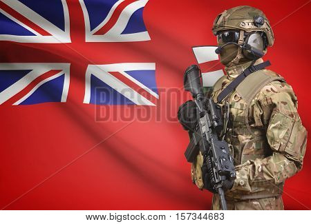 Soldier In Helmet Holding Machine Gun With Canadian Province Flag On Background Series - Ontario