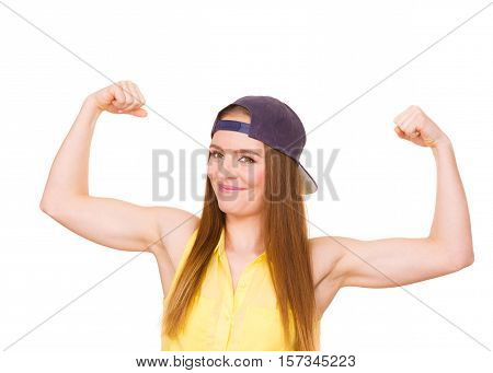 Girl Showing Her Muscles