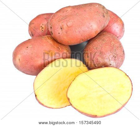 Pink Potato Sweet Batata Isolated on White Background Studio Photo