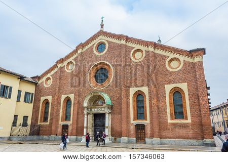 Milan, Italy - November 15, 2016: oudoor of Santa Maria Delle Grazie, church in Milan hosting The Last Supper painting, by Leonardo da Vinci in it's refectory.
