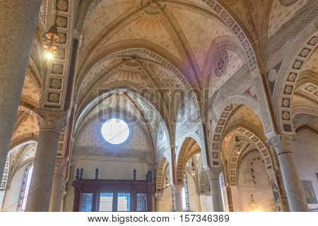 Milan, Italy - November 15, 2016: central roof of the church Santa Maria Delle Grazie.