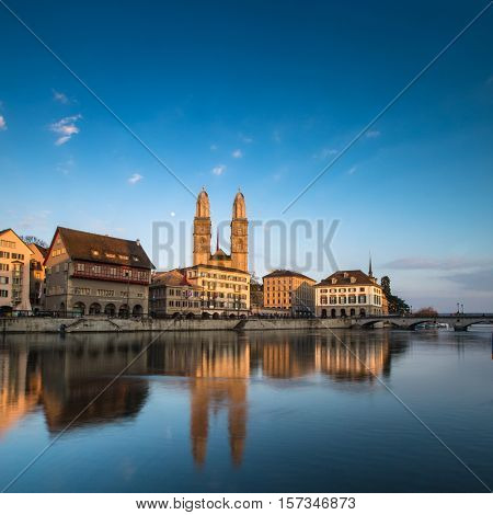 Zurich, Switzerland - view with Grossmunster church