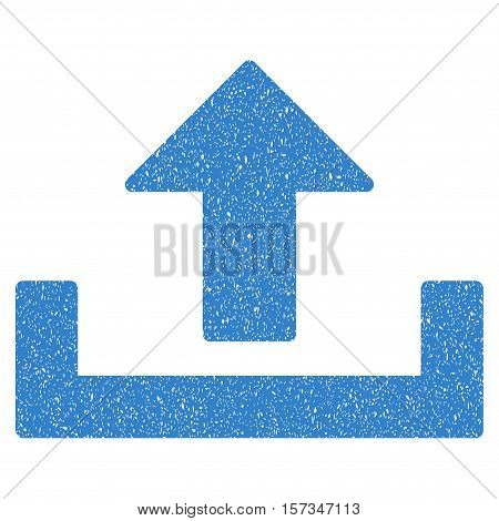 Upload grainy textured icon for overlay watermark stamps. Flat symbol with scratched texture. Dotted vector cobalt ink rubber seal stamp with grunge design on a white background.