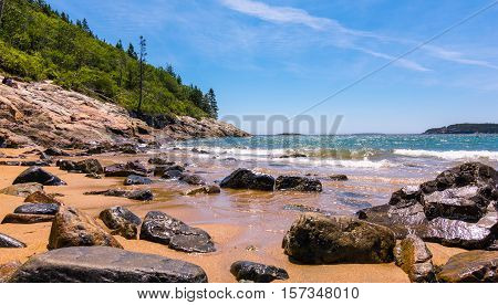 Shoreline at Sand Beach Acadia National Park. Maine New England