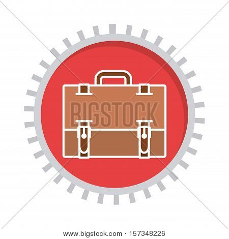 image with suitcase in toothed circle vector illustration