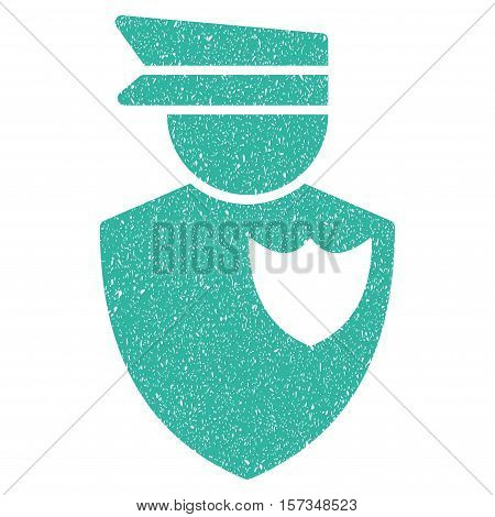 Policeman grainy textured icon for overlay watermark stamps. Flat symbol with scratched texture. Dotted vector cyan ink rubber seal stamp with grunge design on a white background.
