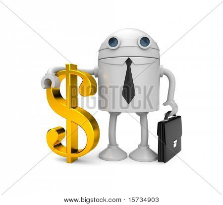 Robot businessman with gold dollar. Image contain clipping path