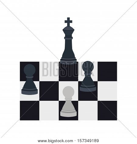 silhouette with king and pawns chess vector illustration