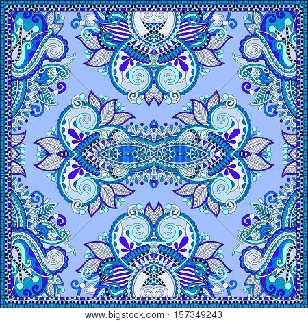 silk neck scarf or kerchief square pattern design in ukrainian style for print on fabric, vintage vector illustration