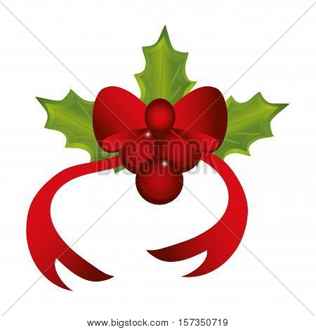 Bowtie and leaves icon. Christmas season decoration and celebration theme. Colorful design. Vector illustration