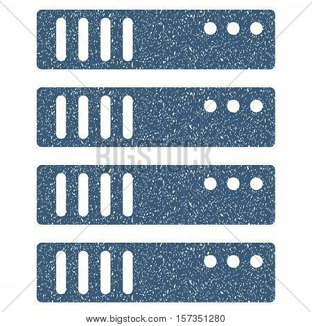 Server grainy textured icon for overlay watermark stamps. Flat symbol with dust texture. Dotted vector blue ink rubber seal stamp with grunge design on a white background.