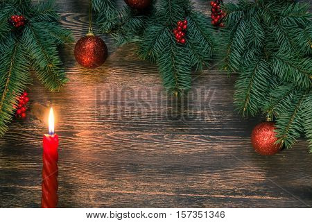 Background with spruce branches and Christmas decor