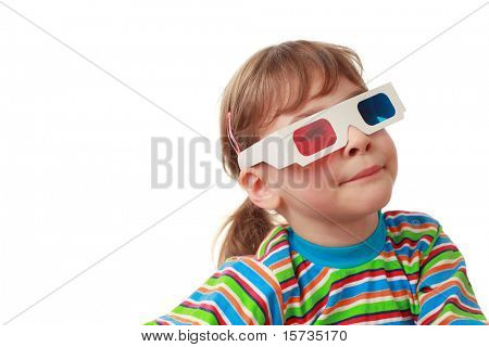 little beautiful girl in striped shirt and anaglyph glasses puts on airs, artificial smile