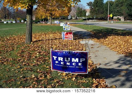 JOLIET, ILLINOIS / UNITED STATES - NOVEMBER 8, 2016: A Lawn sign endorses Donald Trump and Michael Pence, with the slogan