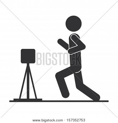 monochrome silhouette with man athletics and hurdles vector illustration