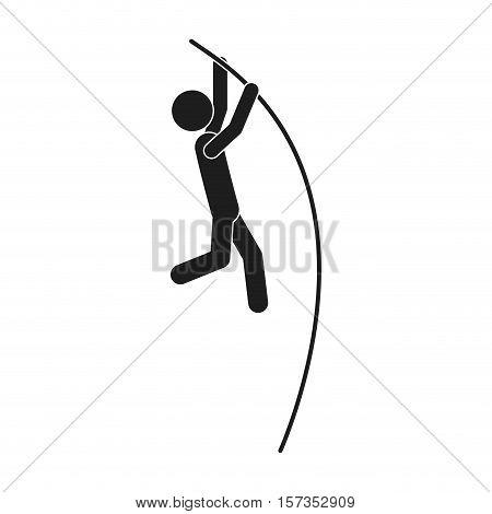monochrome silhouette pole vault man vector illustration