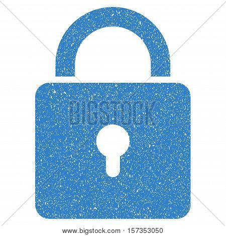 Lock grainy textured icon for overlay watermark stamps. Flat symbol with unclean texture. Dotted vector cobalt ink rubber seal stamp with grunge design on a white background.