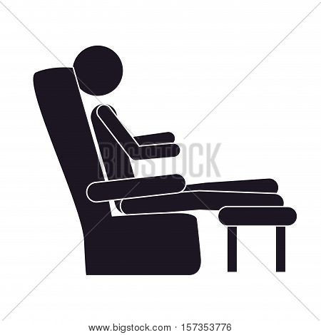 monochrome silhouette with man in comfortable chair vector illustration