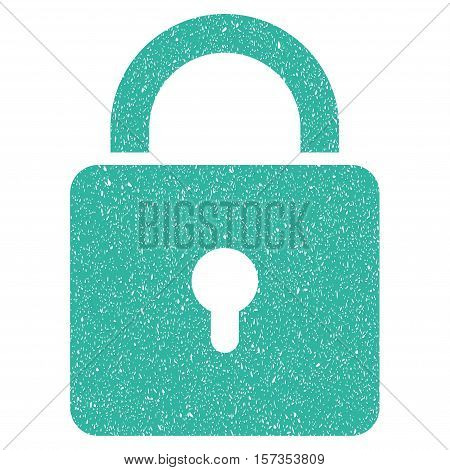 Lock grainy textured icon for overlay watermark stamps. Flat symbol with scratched texture. Dotted vector cyan ink rubber seal stamp with grunge design on a white background.