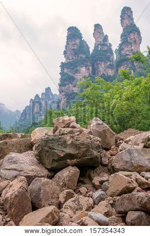 Landscape Of Three Sisters Rock Mountain In Ten Mile Gallery, Hunan Province Zhangjiajie China