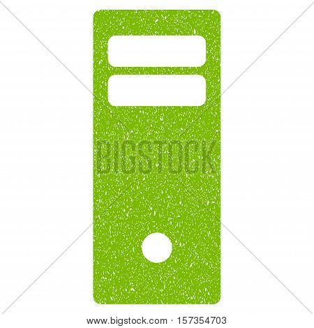 Computer Mainframe grainy textured icon for overlay watermark stamps. Flat symbol with unclean texture. Dotted vector eco green ink rubber seal stamp with grunge design on a white background.