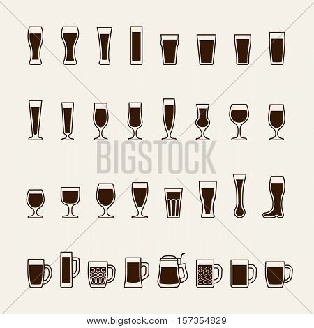 Set icons of beer glass silhouettes. Vector illustration