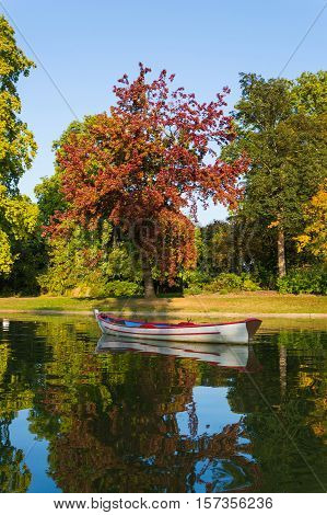 Boat In Lake At The Vincennes Forest