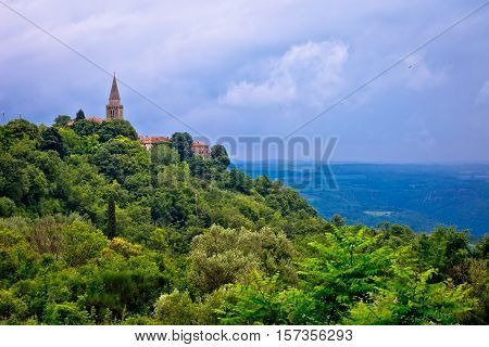 Idyllic hill village of Groznjan view landscape and architecture of Istria Croatia