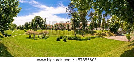 Town of Karlovac park panoramic view northern Croatia