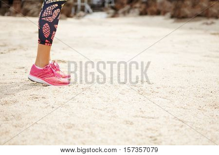 Sports And Healthy Lifestyle Concept. Side View Of Woman Runner In Pink Running Shoes Standing On Be