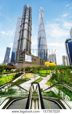 Modern View Of Skyscrapers And Park In Business Center, Shanghai