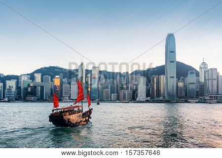 Tourist Sailboat Crosses Victoria Harbor In Hong Kong