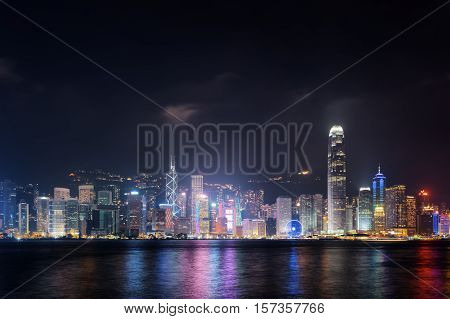 Night View Of Hong Kong Island Skyline