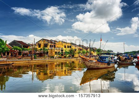 Wooden Boats On The Thu Bon River, Hoi An (hoian), Vietnam
